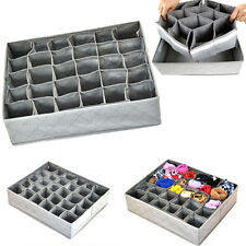 30 Cells Foldable Bamboo Charcoal Underwear Socks Drawer Organizer Storage Boxes