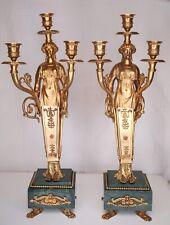 Pair of candlesticks Empire in gilt bronze. 19/20th Century Antique Candelabra