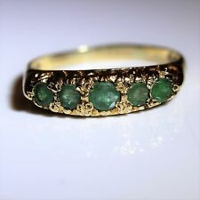 Vintage 9ct Yellow Gold Emerald Five Stone Ring size Q ~ 8 1/4
