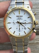 New Old Stock Seiko Solar Men Chronograph Watch V175-0cx0  Stainless Steel 42mm