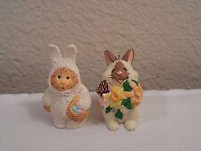 2 Hallmark Miniatures ~ Cat In Bunny Suit Figurine & Bunny With Flowers Ornament