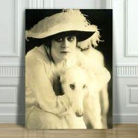 "THEDA BARA & Dog - Silent Film Actress - CANVAS ART PRINT POSTER - Sepia -12x8"""