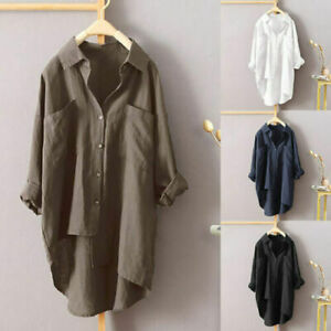 Womens Cotton Linen Button T Shirt Asymmetry Blouse Ladies Long Sleeve Tops UK