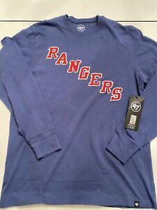New York Rangers Embroidered Logo 47 Brand Long Sleeve T Shirt NHL Hockey NYR XL