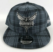Charlotte Hornets Baseball Snapback Hat New Era 9Fifty Gray Plaid