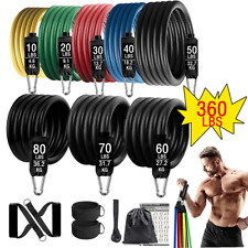 360lbs Fitness Exercises Resistance Bands Set Elastic Tubes Pull Rope Yoga Band