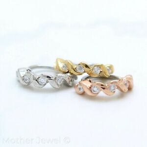18G SILVER YELLOW ROSE GOLD IP SIMULATED DIAMOND TWIST NOSE CARTILAGE HOOP RING