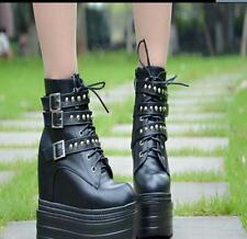 Punk Womens Korean Hidden Heel Ankle Boots Lace Up PU Leather Wedge Shoes New