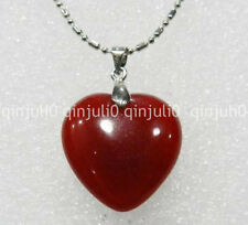 100%Genuine natural 25mm Red Ruby Heart-shaped Pendant Necklace 17 inches