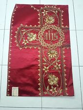 Antique French Vestment IHS & Gold Damask Embroidered Panel
