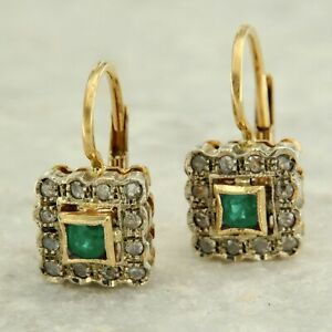 14ct 14k Yellow GOLD Green Natural EMERALD and Real DIAMOND Halo Dangle Earrings