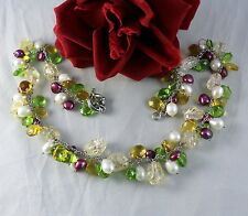 """Genuine Pearl Gemstone & Glass  Beaded 18""""  Necklace CAT RESCUE"""