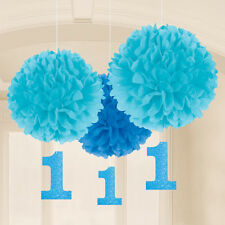 3 x 1st birthday BLUE Fluffy Pom Pom Hangers Boys Age 1 Dangling Decoration