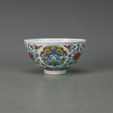 China old Porcelain Ming chenghua doucai Hand painting flower bowl Decoration