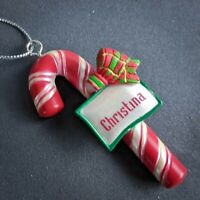 Christina Christmas Ornament Candy Cane Personalized Name Red Ganz NEW