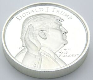 2 Oz .999 Pure Solid Silver Coin (Ultra High Relief) Donald Trump 45th President