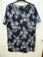 Ladies Size 12 George Black Purple Multi Floral Short Sleeve Stretchy Tunic Top