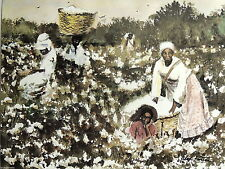 COTTON PICKING PICTURE ETHNIC  WORKING THE COTTON  FIELDS BASKETS PRINT 16X20