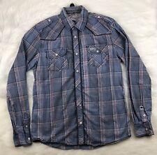 Buffalo David Bitton -Plaid Button Down Shirt - Blue - Men's S (20x26)
