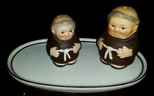 Goebel Friar Tuck Monk Salt & Pepper +a Tray For Creamer & Sugar Germany EX COND