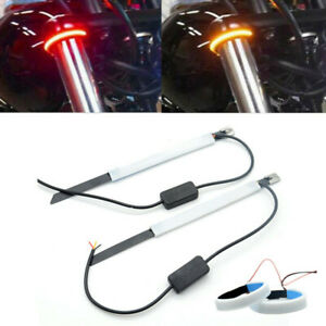 2Pcs Motorcycle 45mm-65mm Fork Turn Signal Strip Light Amber/Red Led Ring Lamp