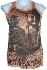 Lady tank top cotton sleeveless Ganesha Chakra Om Nirvana Yoga Sure Buddha Sz S