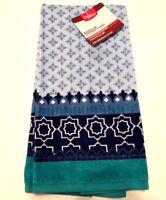 """Indigo Border Kitchen Towel 28"""" Length Blue Teal Cotton Terry Linen"""