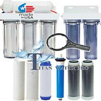 Reverse Osmosis RO/DI Water Filter 6 Stages (2 Stages DI) Clear Housings 300 GPD