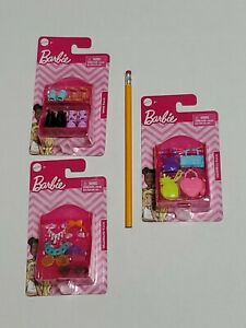 Lot Of 3 Packs Of Barbie Doll Fashion Accessories Handbags, Shoes, Headbands