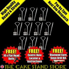 10 Second Quality Silver Fan 2/Two Tier Plate Cake Stand Handle Sets & Fittings