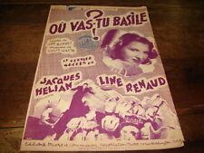 LINE RENAUD - Où vas-tu Basile ? - PARTITION !!!!!!!!!!