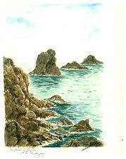 Aquarelle originale  sur papier canson  La Pointe de Pen-Hic   J.Lucas