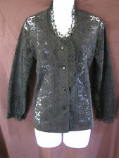 VTG 90's Black Lace Blouse Size Medium GRUNGE GOTH