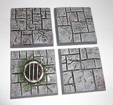 4 x 40 mm carré pavé pierre/dungeon quest Résine Wargames WARHAMMER bases
