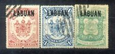 Malaya  North Borneo1895 Overprint  Labuan 25c to $1. CV Rm 480