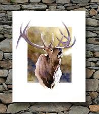 """""""ELK CALL"""" Watercolor Wildlife ART Print Signed by Artist DJR"""