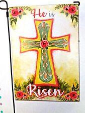 """ HE IS RISEN"" Religous Cross EASTER   Small Garden Flag    SPRING"