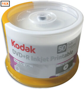 100-Pak KODAK 16X White Inkjet Hub Printable 4.7GB DVD+R's (2 x 50-Pak), #52550