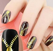 Gold Self Adhesive Nail Wrap Decals Zipper Zips Nail Art Stickers Decoration 032