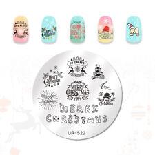 UR SUGAR Nail Art Stamping Plate Christmas Series Round Manicure Design UR-S22