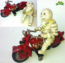 Cast Iron Rusty Michelin Man on a Red Motorcycle like Harley Davidson XMIMK