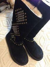 Women's UGG Australia Avondale Black Studded Suede Boot Size 8-8.5