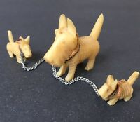 Scottie Dog & 2 Puppies on Chain Vtg Celluloid Miniature Scotty Figurine Japan