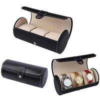 3 Slot Watch Travel Case PU Leather Roll Jewelry Organizer Storage Box ba#cd