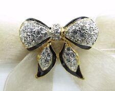 18k Gold Plate Bow Tie Swarovski Element Austrian Crystal Rhinestone Brooch Pin