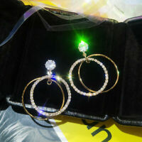 Gold Drop Fashion Big Dangle CZ Crystal Silver/Yellow Filled Earrings Hoop Round