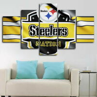Pittsburgh Steelers Nation 5 pcs Painting Printed Canvas Wall Art Home Decor