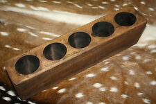 5 Hole Wooden Sugar Mold Wood Candle Holder Primitive