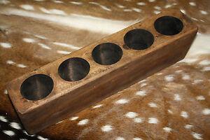 5 Hole Wooden Sugar Mold Wood Candle Holder Primitive