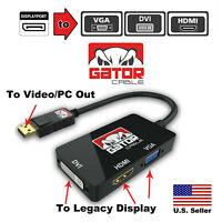 3 in 1 Male DisplayPort to Female DVI-D HDMI VGA Converter Box 4K 1080P Adapter